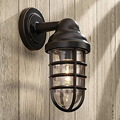 """Marlowe Industrial Farmhouse Outdoor Wall Light Fixture Bronze 13 1/4"""" Caged Clear Glass Up Down for Exterior House Porch Patio Deck Barn - John Timberland"""