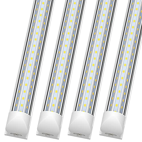 (Pack of 4) SHOPLED 8ft LED Shop Light, 90W 11700LM 6000K, Cool White, Triple Sided D Shape, High Output, Clear Cover, T8 Integrated LED Tube Light for Garage 8 Foot with Plug, Warehouse, Workshop