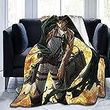 Levi Ackerman Soft and Comfortable Warm Fleece Blankets Beach Blanket Picnic Blankets Throw Blankets (Black, 80'x60')