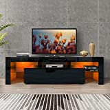 DMAITH TV Stand with LED Lights, 2 Drawers and Open Shelves, High Gloss Entertainment Center Media Console Table Storage Desk for Up to 70 Inch TV, Black (003B)
