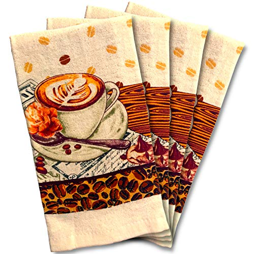 JJ Collection 4 Pack Absorbent Kitchen Dish Towels 15x25 Cotton Poly (Coffee Cafe)