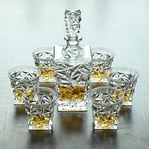 GAOXIAOMEI Juego De Jarra De Whisky, Jarra De Cristal para Alcohol con Tapón, Jarra De Vino De Diseño Cuadrado, Jarra De 750 Ml Y Vasos De 320 Ml (7 Piezas)