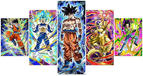 Jackethings Dragon Ball Z and Super Poster Unframed Goku Saiyan Anime Canvas Prints Wall Art Pictures Bedroom Decoration Multicolor