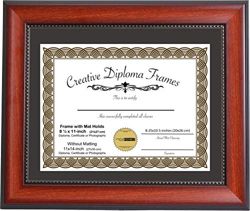 Creative Picture Frames 11x14-inch Eco Mahogany Diploma Frame with Black Mat to Hold 8.5x11 Media A4 Document Includes Installed Hangers
