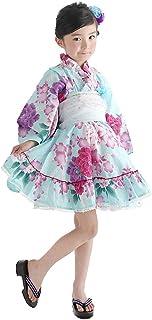 浴衣ドレスセット 2点セット(浴衣ドレス+帯) アクアマリン(セット) 子供浴衣 浴衣 子供
