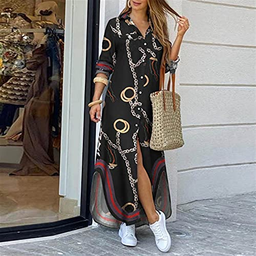 Vestido de camisa de manga larga para mujer Otoño Impreso Vestidos largos Cuello de rechazo suelto Sundress Vestidos de fiesta (Color : Black, Size : X-Large)