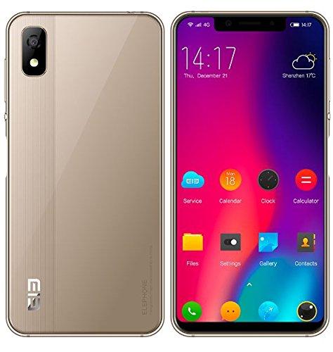 Elephone A4 Smartphone Libres - 5.85 Pulgadas HD + (19: 9 Pantalla de Notch) Android 8.1 Móvil Teléfono Inteligente 4G, MT6739 Quad-Core 1.5GHz 3GB + 16GB - Oro
