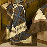 Throw Blanket - Cabin Raising Pine Cone by Donna Sharp - Lodge Decorative Throw Blanket with Patchwork Pattern