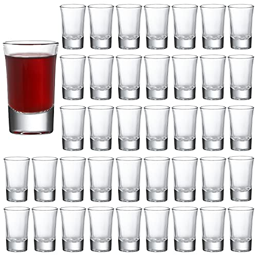 CrazyStorey 40 Pack Heavy Base Shot Glasses, 1.4oz Whiskey Shot Glass Set Small Glass Cups for...