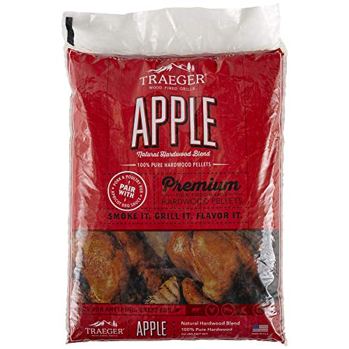Traeger Grills PEL318 Apple 100% All-Natural Hardwood Pellets - Grill, Smoke, Bake, Roast, Braise, and BBQ (20 lb. Bag)