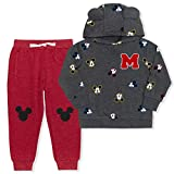 Disney Boy's 2-Piece Mickey Mouse M Pullover Hoodie and Drawstring Jogger Pant Set, Grey/Red, Size 2T