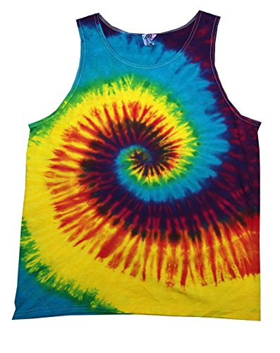Tie-Dyed Tie Dye H3500 Unisex H3500 tie dye Adult Swirl Tank 100% Cotton Reactive Rainbow 2XL