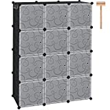 """C&AHOME Cube Storage Organizer, 12-Cube Plastic Closet Cabinet, Modular Book Shelf Organizer Units, Storage Shelving with Doors Ideal for Bedroom Living Room Office 36.6""""L x 12.4""""W x 48.4""""H Black"""