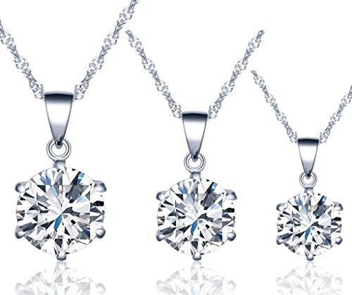 Infinito U Juego de Collares de Plata 925 Cadena de Clavícula Colgante de Diamante Brillante,Idea Regalo para Mujeres Chicas,Set de 3 Piezas