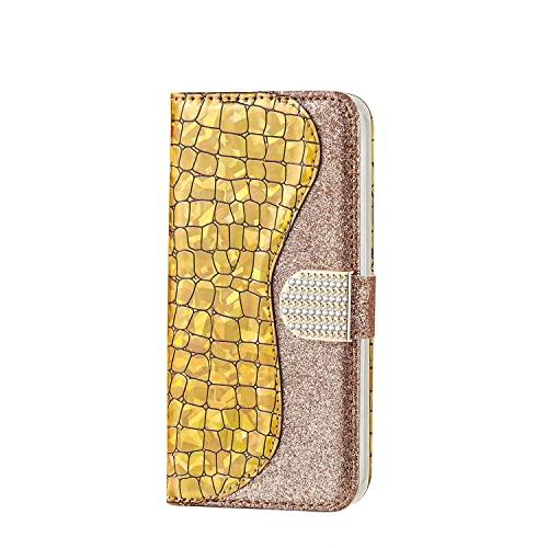WJMWF Compatible con Funda Samsung Galaxy S21 FE Glitter PU Cuero Flip Billetera Case Cierre Magnético con Ranura para Tarjeta Anti-Shock Cubierta-Dorado