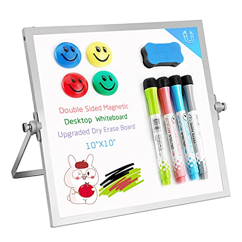 """Dry Erase White Board, 10""""X10"""" Small Magnetic Desktop Whiteboard with Stand, 4 Markers, 4 Magnets & Eraser, Portable Double Sided Tabletop Mini Dry Erase Board for Kids Drawing, Teaching Memo Office"""