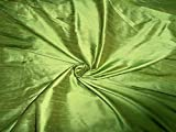 100% Pure Seide Dupionseide Stoff Gras Grün 137,2cm mit