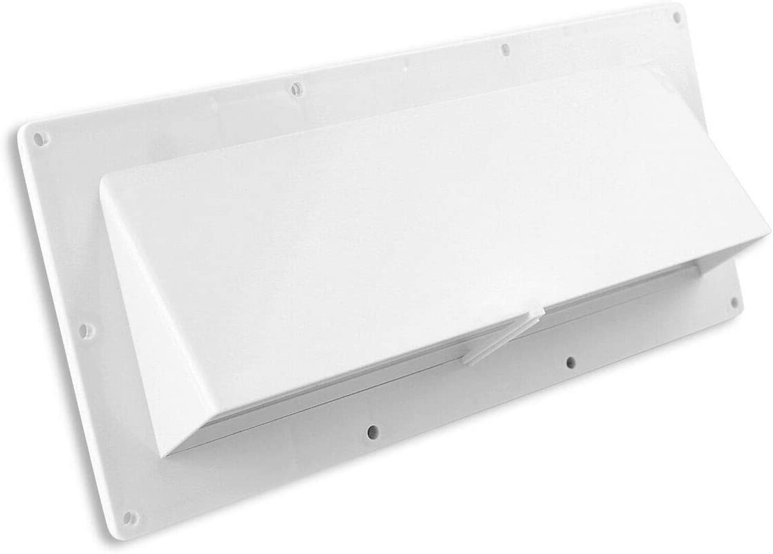 Mobile Home/RV CW White Exterior Sidewall Range Hood Vent with Damper