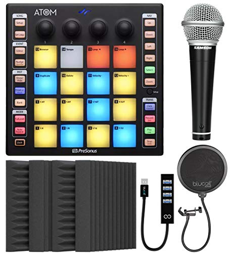 PreSonus ATOM Production and Performance Pad Controller Bundle with Blucoil 4-Pack of 12