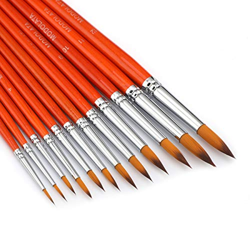 Watercolor Paint Brushes Set - 12Pcs Round Pointed Painting Brush for Acrylic, Gouache, Oil, Artist, Miniature, Model - Short Handle