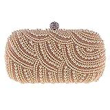 Milkvetch Bolsos de Mano con Perlas Monedero de Mujer Bolsos de Mano para Mujer Bolsos de Noche para Fiesta Bodas Bolsos de Mano con Perlas de Moda - Oro