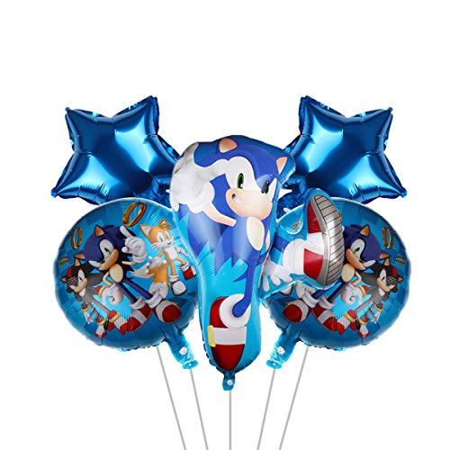 5 globos de fiesta sonic, suministros de fiesta de Sonic para niños, decoración de fiesta de cumpleaños