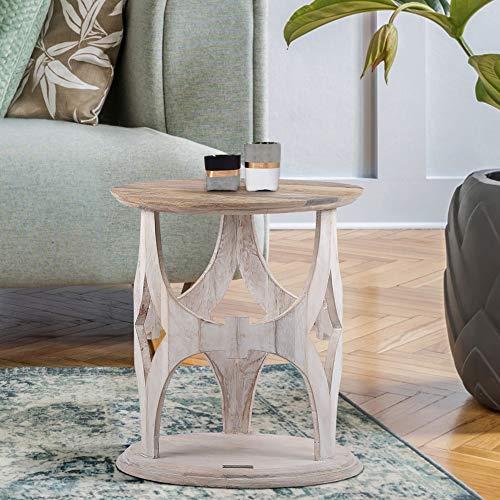 WOMO-DESIGN Tavolino da Caffè Orientale Parigi Ø45 x 55 cm da Salotto Rotondo Colore Bianco in Legno Massello di Mango Intagliato a Mano Design Indiano Tavolo Caffè Vintage per Soggiorno o Divano