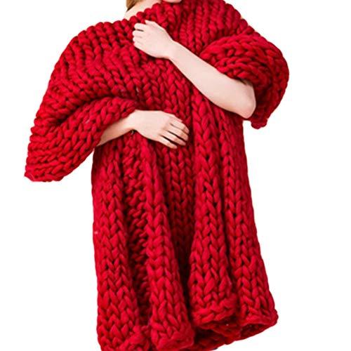 Blanket Couverture en Tricot à La Main Chunky, Doux épais Chunky Couverture Tricotée Couverture De Lit Confortable,Red-100 * 100cm