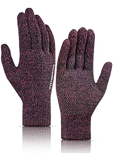 TRENDOUX Mens Gloves, 360° Whole Palm Touchscreen Knit Warm Glove Women - Non-Slip Grip - Thermal Lining - Stretchy Material - Windproof Cold Weather Glove for Driving Running Sports Texting - Rose L
