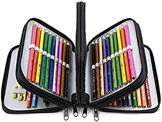 YOUSHARES 72 Slots Pencil Case - Handy Large Capacity Oxford Multi-Layer Zipper Pencil Bag for Color Pen, Colored Pencils, Watercolor Pens, Makeup Brush, Cosmetic Brushes, Gel Pen, etc (Black)