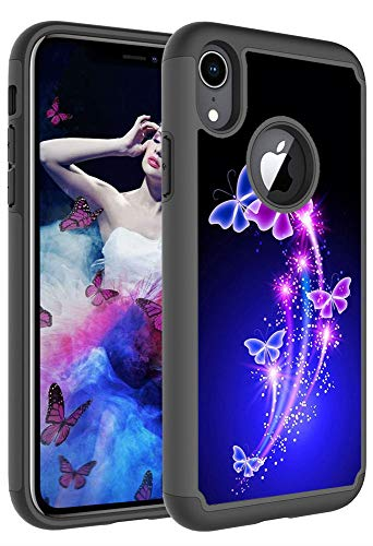 Moment Dextrad Case for iPhone xr, iPhone xr Silicone Case, Heavy Duty Protection Art Pattern Design - Hard Plastic Cover + Soft Silicone Dual Layer Cover for iPhone XR Accessories (Butterfly)