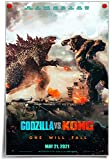 Wall Art Godzilla vs King Kong 2021 Movies Posters Prints Canvas Wall Décor for Living Room Bedroom Decor Picture Vertical UnFramed 16x24 inch (16X24-Unframed,A-Godzilla VS Kong)