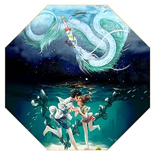 Paraguas Plegable, Sol y Lluvia (alejado) Imprimir Paraguas Anime Cosplay Mini Paraguas de Viaje, Parasol portátil Compacto Ligero con 95% UV Fans de protección para Anime, selección de Regalos