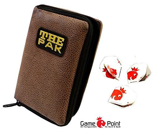 Strapazierfähige Darttasche THE PAK-Sonderedition für 1-2 Dartsets, Farbe braun + 1 Satz Gamepoint Flys