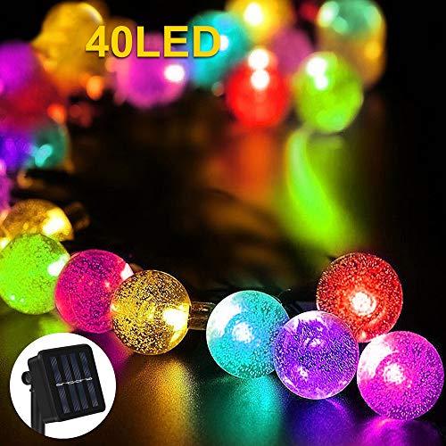 Nasharia Solar Lichterkette Außen,Lichterkette Kristall Kugel 40er LED 8 Modi IP65 Wasserdicht mit Lichtsensor Beleuchtung für Garten, Bäume, Terrasse, Hochzeiten, Partys