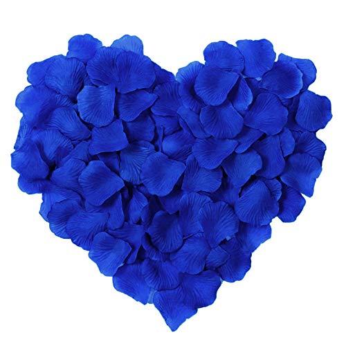 YoungLove Royal Blue Rose Petals 1000 Pcs Silk Artificial Rose Petals Valentine Romantic Wedding Party Home Decorations, Royal Blue