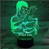 3D veilleuse lampe célèbre chinois Kungfu Bruce Lee modèle multiColore éclairage LED bouton tactile décor à la maison