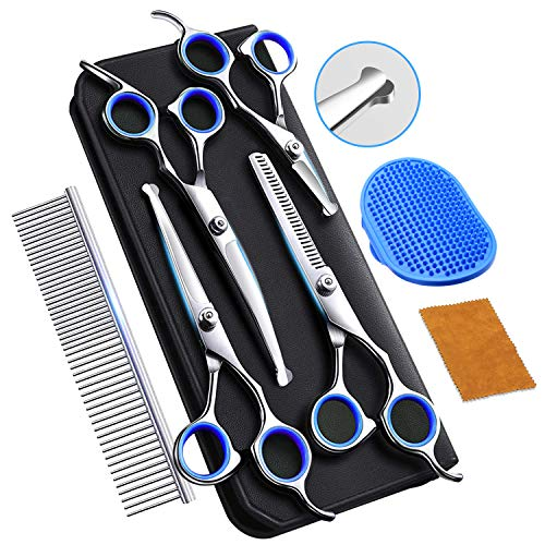 Professional Dog Grooming Scissors with Safety Round Tip  Heavy Duty Stainless Steel Grooming Scissors for Dogs Cat Pet  Pet Grooming Scissors Kit 6 Pcs for Cat Dog Grooming