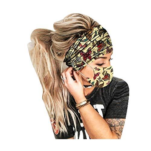 JINSUO 2 Teile/Set Weihnachtstasten Stirnband Turban Haare Zubehör Weiche Yoga Sport Elastische Haarband Mode mit Frauen Bedecken den Mund (Color : C)