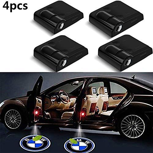 NIEFENG Willkommens-Licht Universal-Projektoren, 4er-Pack LED-Projektor-Tür-Schatten-Willkommens-Licht-Geist Courtesy-Logo-Emblem-Lampen-Set for BMW Cars (Color : Black)