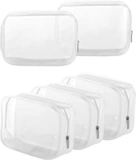 5 Pack Clear PVC Zippered Toiletry Carry Pouch Portable Cosmetic Makeup Bag for Vacation, Bathroom and Organizing (Small, ...