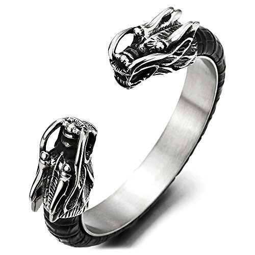 COOLSTEELANDBEYOND Mens Stainless Steel Dragon Cuff Bangle Bracelet Inlaid with Black Leather, Elastic Adjustable