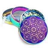 Pilot Diary Mandala Series Premium Aluminum 4 Piece Herb Grinder with Pollen Catcher 2' Titanium Blue