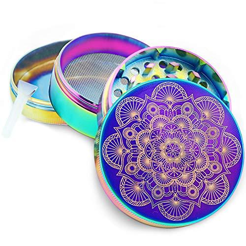 Imagen del producto Pilot Diary Grinder Mandala Series Premium Aluminio 4 Piezas en Grinder Metálico para Hierbas y Especias en Hogar con colector de Polen (5cm,Azul Titanio)