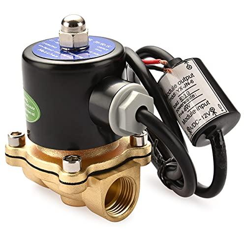 Heschen Válvula solenoide eléctrica de latón de 1/2 pulgada DC 12V Acción...