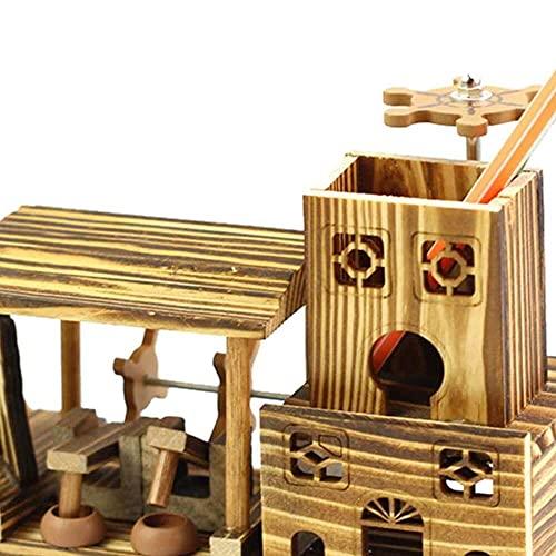 zhaita Soporte para bolígrafo de escritorio Soporte de madera de la nave de la música del lápiz de la taza del pote organizador del escritorio