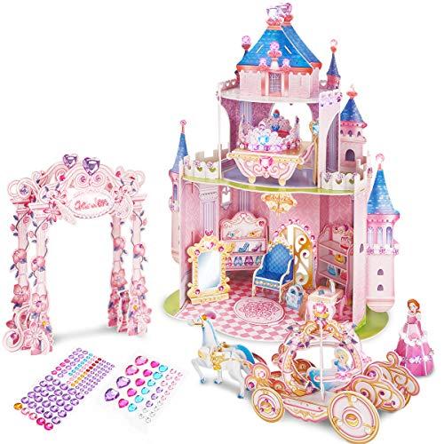 CubicFun 3D Pink Princess Puppenhaus Puzzle mit DIY Crystal Gems Aufkleber und Möbel, Castle Craft Kits Geschenk Spielzeug für Kinder 5+...