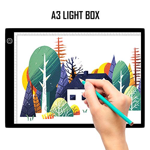 A3 LED Light Box, SAMTIAN Portable Tracing Light Pad USB Powered Light Drawing Board Kit Ultra-Thin Adjustable Brightness Copy Board for Animation, Artists Designing, Sketching, X-ray Viewing