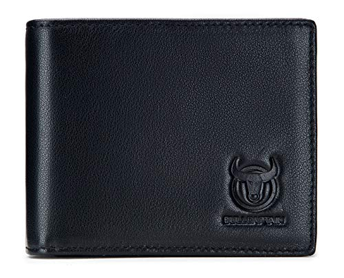 BULLCAPTAIN Men Wallet Genuine Leather Large Capacity Bifold RFID Blocking Wallet with ID Window 15 Card Slots 1