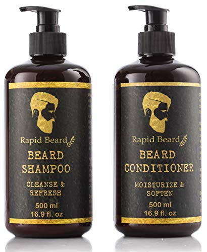Beard Shampoo and Beard Conditioner Wash & Growth kit for Men Care - Softener & Moisturizer for Hydrating, Cleansing and Refreshing Beard and Mustache Gift Set (Classic, 500ml (17 fl oz))